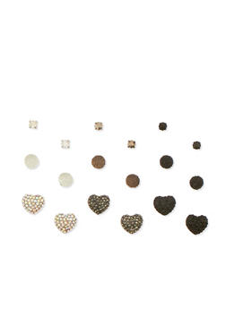 Set of 9 Assorted Stud Earrings - 3135035159282