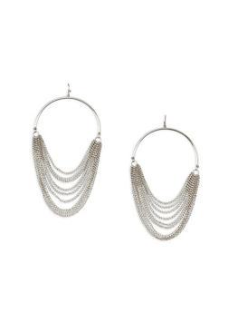 Hoop Earrings with Metal Mesh Fringe - 3135044094809