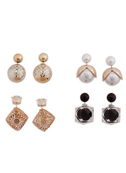 Large Double Sided Stud Earrings - 3135057690773