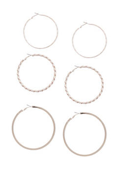 Set of 3 Large Hoop Earrings - 3135057691224