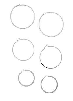 Multi Size Hoop Earrings Set - 3135057692371