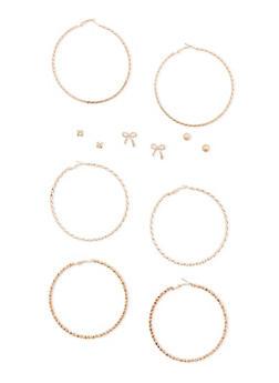 Set of 6 Stud and Braided Hoop Earrings Set - 3135057694102