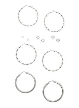 6 Stud and Large Hoop Earrings Set - 3135057694104