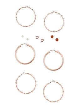 6 Stud and Large Hoop Earrings Set - 3135057694104