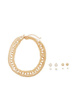Set of 3 Necklaces and 3 Stud Earrings - 3135057697081