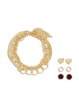 Set of 3 Necklace and 3 Stud Earrings - 3135057697082