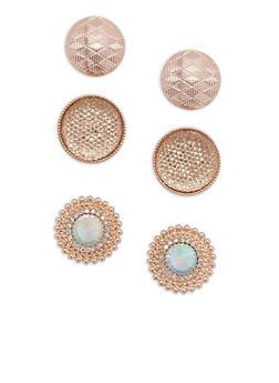 Large Rhinestone Textured Disc Stud Earrings - 3135059636948