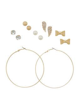 Set of 6 Assorted Stud and Hoop Earrings - 3135062813453