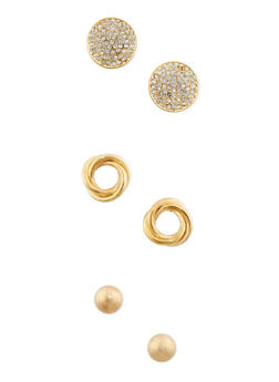 Set of 3 Rhinestone Knot and Dome Stud Earrings - 3135062816205