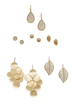 6 Assorted Metallic Leaf and Stud Earrings Set - 3135062816566