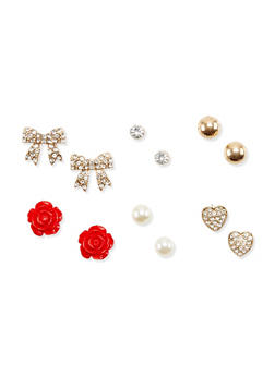 Set of 6 Stud Earrings with Crystal Accents - 3135062817268