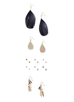 Set of 5 Assorted Boho Stud and Drop Earrings with Feathers - 3135062818308