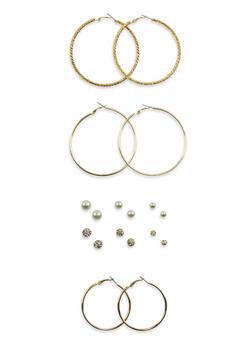 Set of 9 Assorted Hoop and Faux Pearl Stud Earrings - 3135062818309