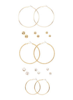 Set of 9 Assorted Dome Stud and Hoop Earrings - 3135062818332