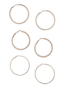 Trio Wide Hoop Earring Set - 3135062921133