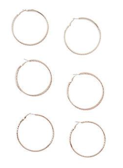 Trio Assorted Hoop Earrings Set - 3135062921539