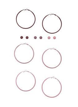 6 Piece Hoop and Stud Earrings Set - 3135062921926