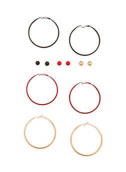6 Piece Hoop and Stud Earrings Set - 3135062921926