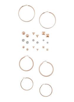 Set of 12 Stud and Glitter Hoop Earrings - 3135062922363