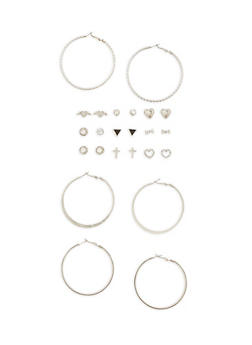 12 Piece Assorted Stud and Hoop Earring Set - 3135062923454
