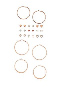 12 Piece Assorted Stud and Hoop Earring Set - 3135062923454