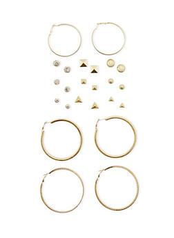 Set of 12 Hoop and Stud Earrings - 3135062923632