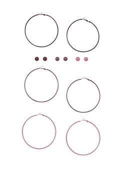 6 Piece Hoop and Stud Earrings Set - 3135062925937