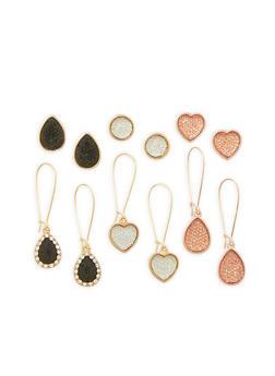 Set of 6 Drop and Stud Earrings - 3135062926967