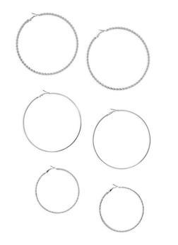 Large Trio Assorted Hoop Earring Set - 3135062927171