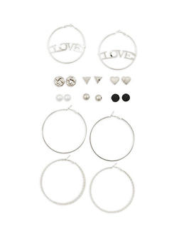 9 Piece Assorted Love Hoop and Stud Earrings Set - 3135062927369