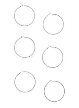 Textured Hoop Earrings Trio - 3135062928764