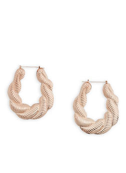 Large Puff Hoop Earrings - 3135062929320