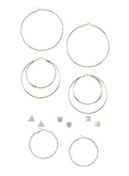 6 Piece Assorted Glitter Hoop and Stud Earring Set - 3135062929346