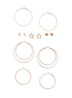 6 Piece Assorted Star and Moon Earrings Set - 3135062929642