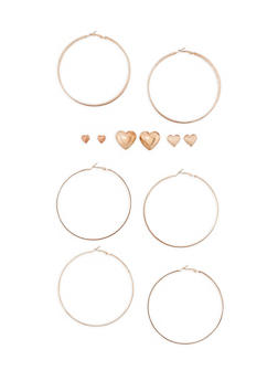 6 Piece Assorted Hoop and Stud Earring Set - 3135062929647