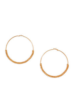 Oversized Curb Chain Accent Hoop Earrings - 3135062929954