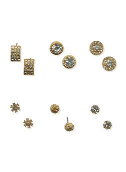 Set of 6 Assorted Stud Earrings - 3135069757444