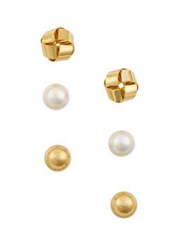 Set of 3 Stud Earrings in Varied Designs - 3135071432015