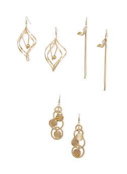 Set of 3 Assorted Drop Earrings - 3135071432019
