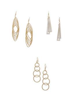 Set of 3 Geometric Drop Earrings with Glitter - 3135071432020