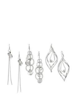 Set of 3 Metallic Drop Earrings - 3135071439102