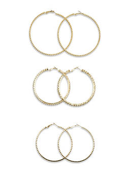 Set of 3 Hoop Earrings with Crystal Accents - 3135072370205