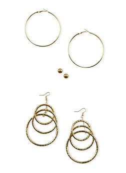 Set of 2 Hoops and Stud Earrings - 3135072370220