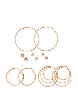 Set of 6 Assorted Stud and Hoop Earrings - 3135072373104