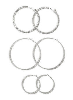 Trio Layered Hoop Earrings - 3135072373111