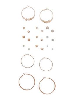 Set of 12 Hoop and Stud Earrings - 3135072374083