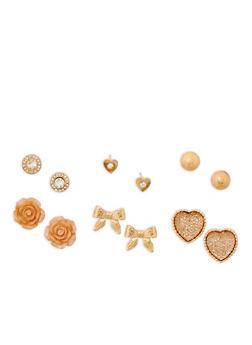 Flower Heart Bow Stud Earrings Set - 3135072690136