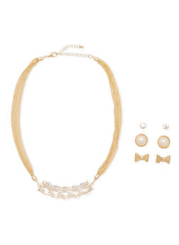 Encased Crystal Necklace with 3 Stud Earrings Set - 3135072694141