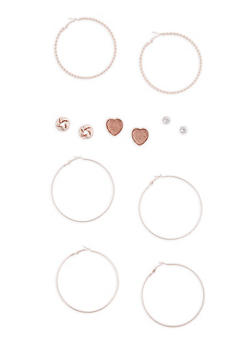 Braided Glitter Hoops and Large Stud Earrings Set - 3135072695687