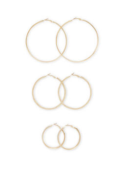 Set of 3 Hoop Earrings with Crystal and Glitter Accents - 3135072695783